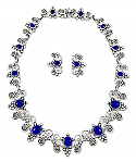 Sterling Silver and Lapis Lazuli Necklace and Earrings Grapevine Set