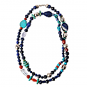 Lapis Lazuli, Jasper, Turquoise and Quartz Bead Necklace