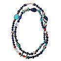 Lapis Lazuli, Jasper, Turquoise and Quartz Bead Necklace