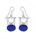 Sterling Silver and Lapis Lazuli Egyptian Hanging Earrings