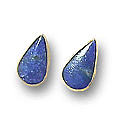 18K Gold Elongated Drop Single Stone Post Earrings