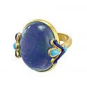 18K Gold , Lapis Lazuli and Turquoise Egyptian Lotus Ring