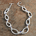 Sterling Silver and Lapis Lazuli Chunky Link Necklace