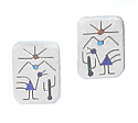 Sterling Silver Post or Clip Rectangular Diaguitas Earrings