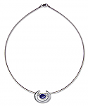 Sterling Silver and Lapis Lazuli Horseshoe Pendant with Chain
