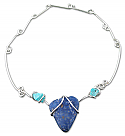 Sterling Silver, Lapis Lazuli and Turquoise Necklace