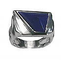 Sterling Silver Abstract Ring with Inlaid Stone