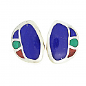 Sterling Silver Lapis Lazuli, Malachite and Jasper Art Deco Earrings