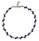Double Tier Sterling Silver and 6 mm Lapis Lazuli Beads Necklace