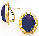 18K Gold and Lapis Lazuli Greek Key Earrings