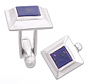 Sterling Silver and Lapis Lazuli Flat Pyramidal Cuff Links