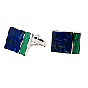 Rectangular Sterling Silver, Lapis Lazuli and Malachite Cufflinks