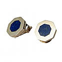 Octagonal Clip Earrings, Sterling Silver and Lapis Lazuli