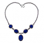 Sterling Silver and Lapis Lazuli Victorian Semicollar