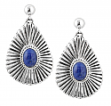 Sterling Silver and Lapis Lazuli Sunburst Earrings
