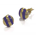 18K Gold and Lapis Lazuli Zebra Post Earrings