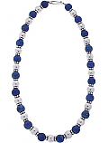 Etruscan Lapis Lazuli and Sterling Silver Bead Necklace