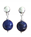 Sterling Silver and Lapis Lazuli Beads Hanging Earrings