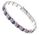 Sterling Silver, Lapis Lazuli & Rhodocrosite Hinge Bracelet