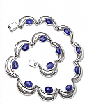 Sterling Silver and Lapis Lazuli Half Moon Necklace