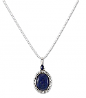 Sterling Silver and Lapis Lazuli Oval Charm