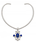 Sterling Silver, Lapis Lazuli and Water Pearl Chocker Necklace