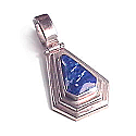 Large Sterling Silver Faceted Charm with Inlayed Stone
