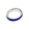 Sterling Silver & Lapis Lazuli Cleo Band Ring Pair