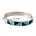Lapis Lazuli and Turquoise Diagonal Division Cuff Bracelet