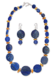 Lapis Lazuli, Amber and Sterling Silver Necklace and Earrings Set