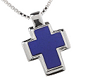 Sterling Silver and Lapis Lazuli Thick Rectangular Cross