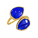 18K Gold and Lapis Lazuli Open Link Ring