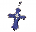 Sterling Silver and Lapis Lazuli Edwardian Cross