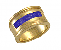 18K Gold Lapis Lazuli Channel Ring
