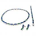 Classic Lapis Lazuli and Malachite Mixed Modules Sterling Silver Set