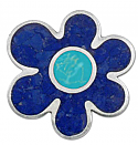 Lapis Lazuli and Turquoise Flower Pendant- Brooch