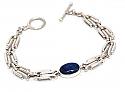 Sterling Silver Cartier Link Cabochon Bracelet