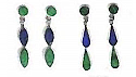 Drop Lapis Lazuli and Malachite Hanging Earrings