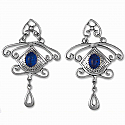 Sterling Silver and Lapis Lazuli Crown Hanging Earrings