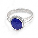 Medium Round Laced Framed Sterling Silver Ring