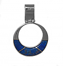 Round Sterling Silver and Lapis Lazuli Hinge Charm