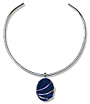 Extra Large Sterling Silver and Lapis Lazuli Channeling Pendant