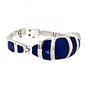 Sterling Silver and Lapis Lazuli Shell Hinged Cuff Bracelet