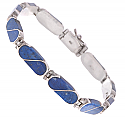 Sterling Silver and Lapis Lazuli S Division Hinge Bracelet