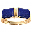 18K Gold and Lapis Lazuli Two Stone Promise Ring