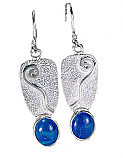 Sterling Silver and Lapis Lazuli Swirl Hanging Earrings
