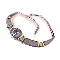 Lapis Lazuli and Amber Sterling Silver Necklace