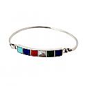 Lapis Lazuli, Turquoise, Malachite, Nacar and Jasper Cuff Bracelet