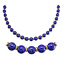 6 mm Lapis Lazuli Bead Necklace with Sterling Silver Accents