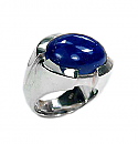 Sterling Silver and Oval Lapis Lazuli Cabochon Ring